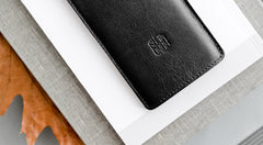 Leather iPhone/iPhone Plus Sleeve - Hike in Black by HANDWERS on Jetset Times SHOP