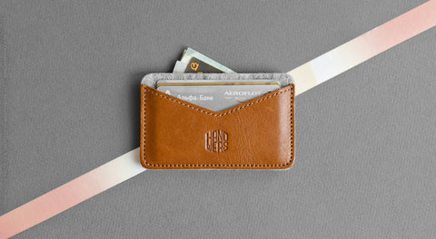 Leather Cardholder Wallet - Chaste in Brown w/ Light Gray