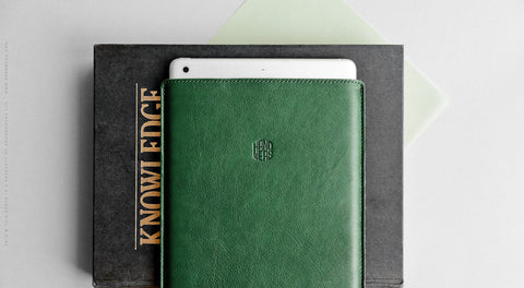 Leather iPad Mini/iPad Air/iPad Pro Sleeve - Hike in Green