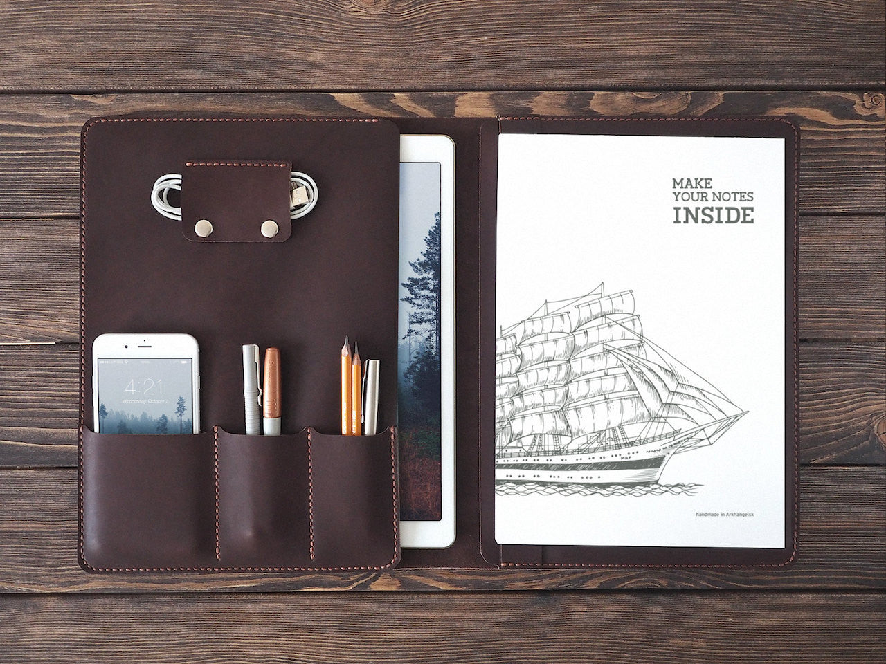 "iPad Pro 12.9"" Leather Folio in Dark Brown - Handmade by INSIDE on Jetset Times SHOP"