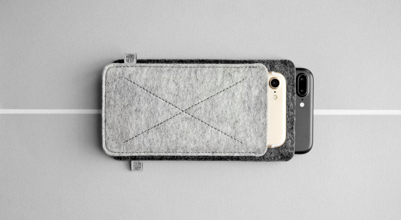 Wool Felt iPhone/iPhone Plus Sleeve - Cross in Light Gray by HANDWERS on Jetset Times SHOP