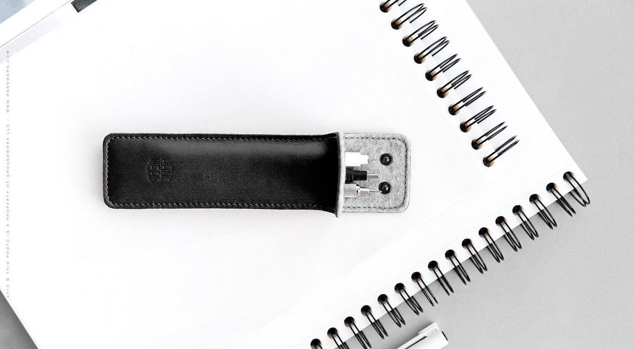 Wide Leather Pencil Case - Lance in Black by HANDWERS on Jetset Times SHOP