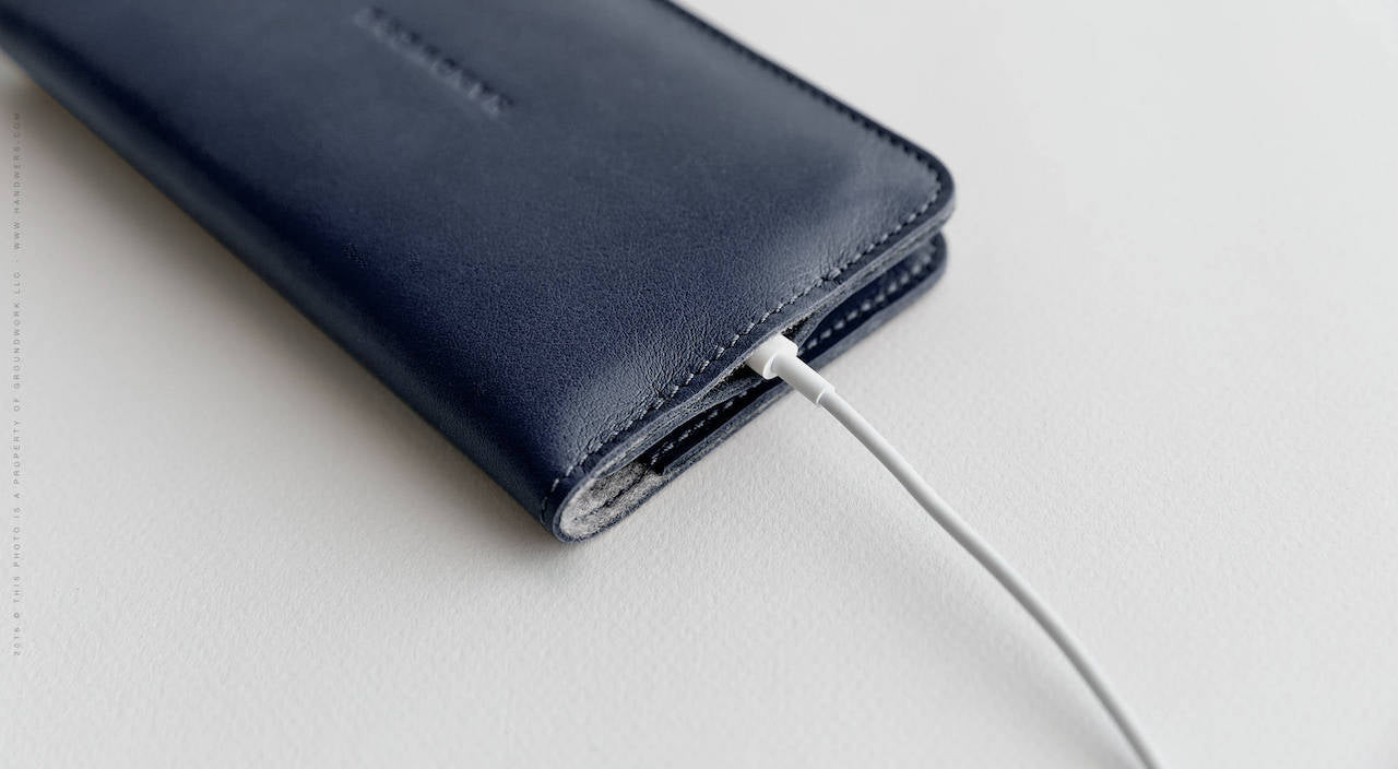 Leather iPhone/iPhone Plus Bifold Wallet - Ranch in Blue by HANDWERS on Jetset Times SHOP