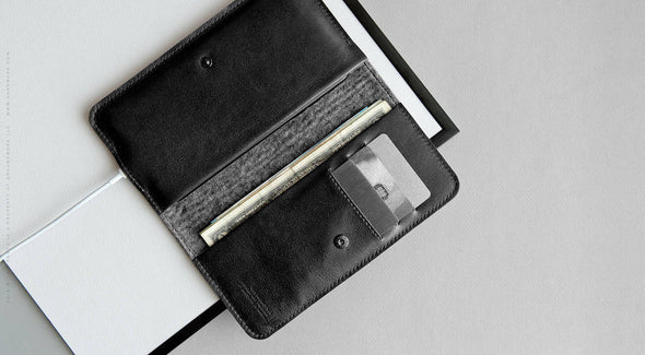 Leather iPhone/iPhone Plus/iPhone X Bifold Wallet - Ranch in Black by HANDWERS on Jetset Times SHOP
