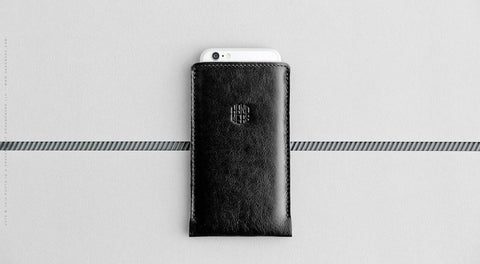 Leather iPhone/iPhone Plus Sleeve - Hike in Black
