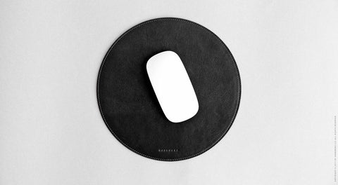 Round Leather Mouse Pad - Surface in Black