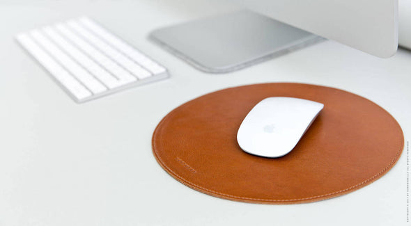 Round Leather Mouse Pad - Surface in Brown by HANDWERS on Jetset Times SHOP