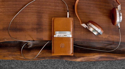 Leather iPhone/iPhone Plus Sleeve w/ Pocket - Hike in Brown