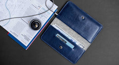 Leather iPhone Wallet - Ranch in Blue by HANDWERS on Jetset Times SHOP