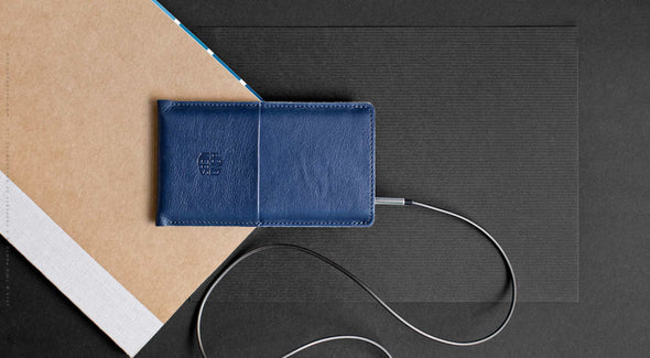 Leather iPhone/iPhone Plus Sleeve w/ Pocket - Hike in Blue by HANDWERS on Jetset Times SHOP