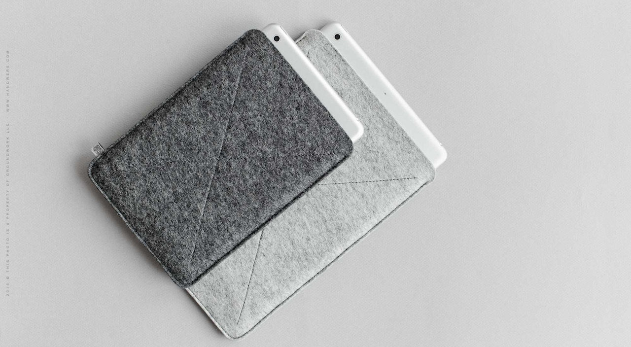 Wool Felt iPad Mini/iPad Air/iPad Pro Sleeve - Cross in Dark Gray by HANDWERS on Jetset Times SHOP