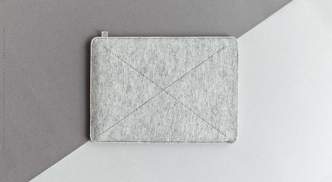 Wool Felt iPad Mini/iPad Air/iPad Pro Sleeve - Cross in Light Gray Melange