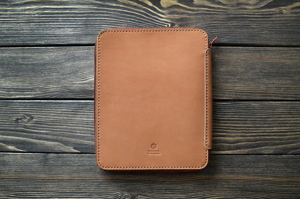 iPad Mini Leather Zip Folio in Brown - Handmade by INSIDE on Jetset Times SHOP