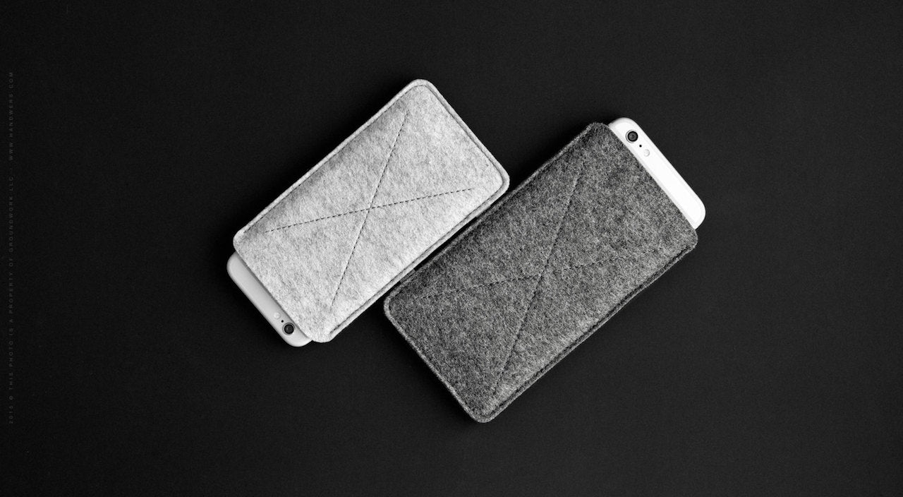 Wool Felt iPhone/iPhone Plus Sleeve - Cross in Light Gray (Left Side) by HANDWERS on Jetset Times SHOP