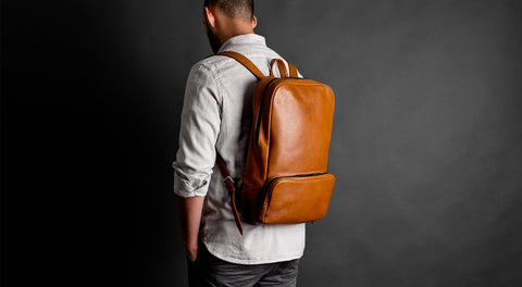 "15"" Laptop Leather City Backpack - Mangart in Brown"