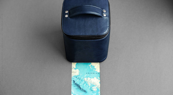 Men's Leather Dopp Kit - Yard in Blue by HANDWERS on Jetset Times SHOP