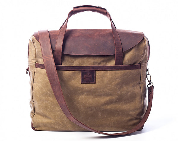 "17"" MacBook Pro Waxed Canvas Leather Messenger Bag for Men & Women - Tan w/ Brown"