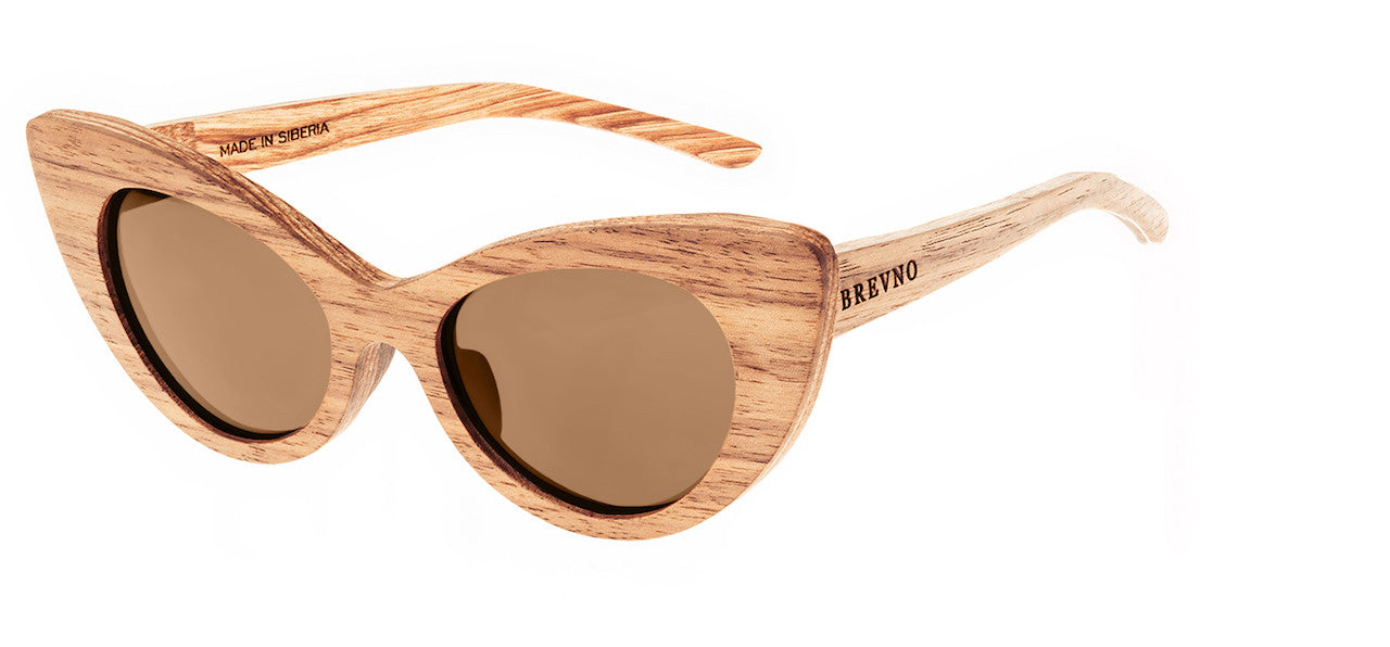 Wood Sunglasses for Men and Women - Walnut with Brown Lenses by BREVNO on Jetset Times SHOP