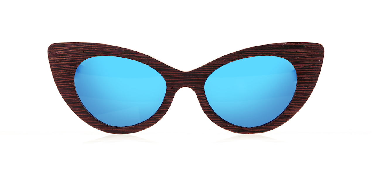 Wood Sunglasses for Men and Women - Wenge with Sky Blue Lenses by BREVNO on Jetset Times SHOP