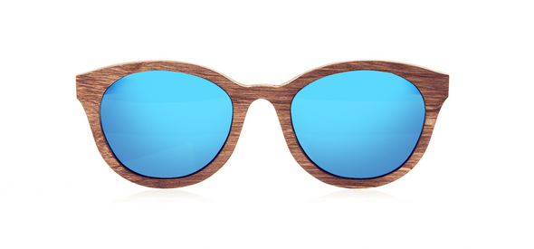 Wood Sunglasses for Men and Women - Birchwood with Sky Blue Lenses by BREVNO on Jetset Times SHOP
