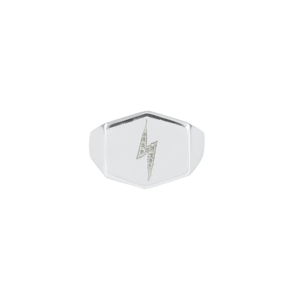 Lightning Bolt Shield Signet Ring
