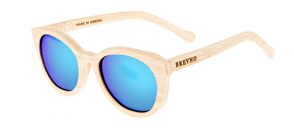 Wood Sunglasses for Men and Women - Ashwood with Sky Blue Lenses by BREVNO on Jetset Times SHOP