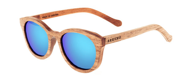 Wood Sunglasses for Men and Women - Walnut with Sky Blue Lenses by BREVNO on Jetset Times SHOP