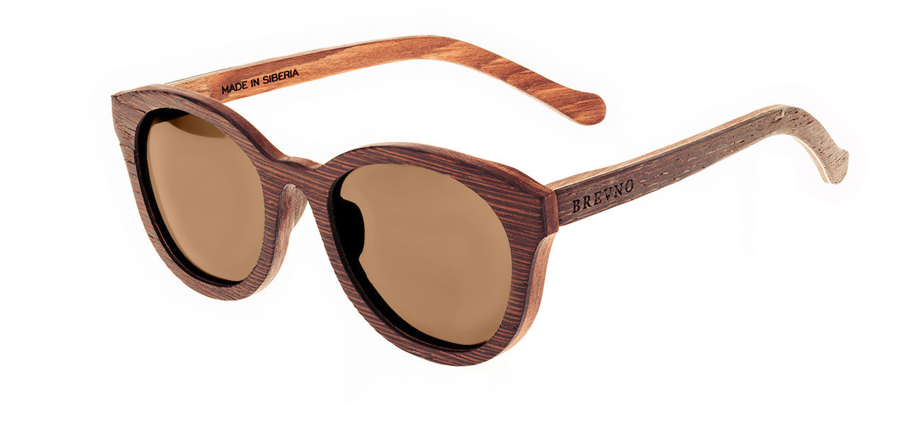 Wood Sunglasses for Men and Women - Wenge with Brown Lenses by BREVNO on Jetset Times SHOP