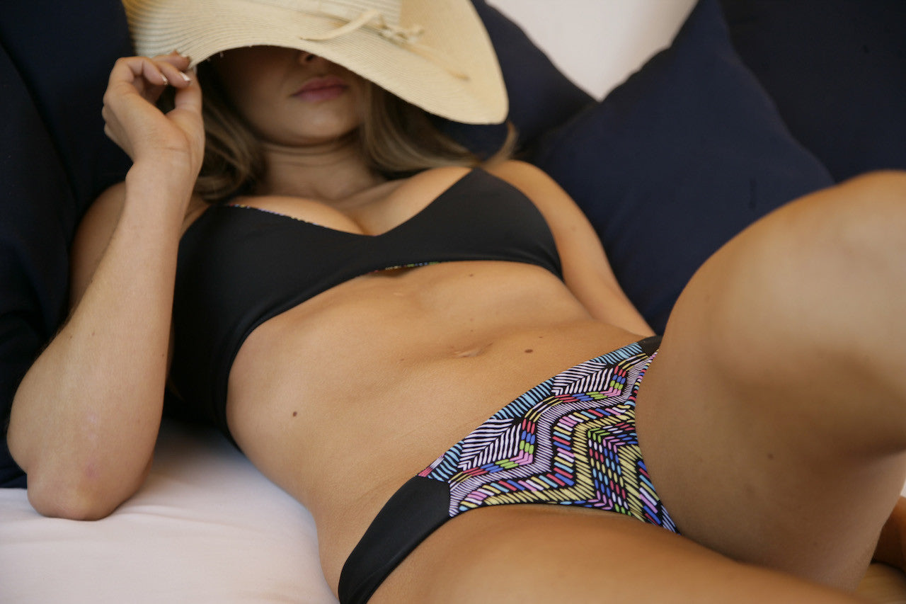 Women's Reversible Swimsuit Bottoms - Sarah Ruched in Print/Black by Lagoa Swimwear on Jetset Times SHOP