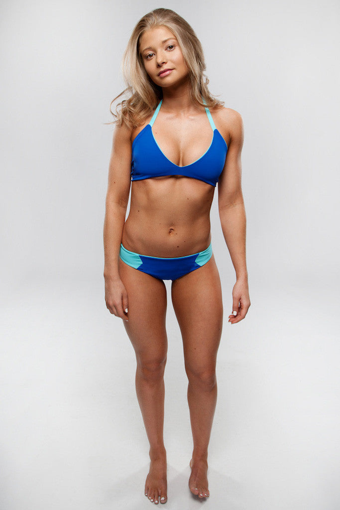Women's Reversible Swimsuit Bottoms - Sarah Ruched in Royal/Aqua by Lagoa Swimwear on Jetset Times SHOP