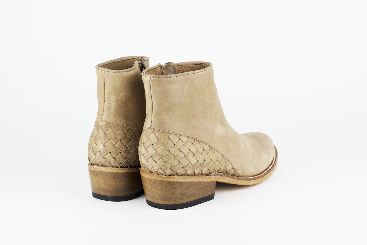 Women's Beige Leather Ankle Boots - MAZAMITLA by TapatÌ_a on Jetset Times SHOP