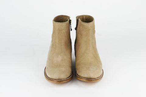 Women's Beige Leather Ankle Boots - MAZAMITLA