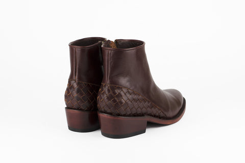 Women's Burgundy Leather Ankle Boots - MAZAMITLA