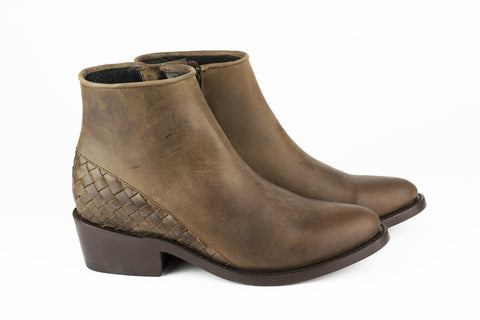 Women's Brown Leather Ankle Boots - MAZAMITLA