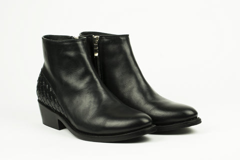 Women's Black Leather Ankle Boots - MAZAMITLA