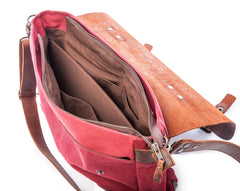 Waxed Canvas Leather Laptop Messenger Bag for Men and Women - Burgundy Canvas with Brown Leather by Tram 21 on Jetset Times SHOP