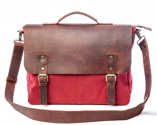 Waxed Canvas Leather Laptop Messenger Bag for Men & Women - Burgundy w/ Brown in Various Sizes
