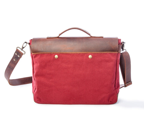 Laptop Messenger Bag Burgundy- Waxed Canvas Leather in Various Sizes