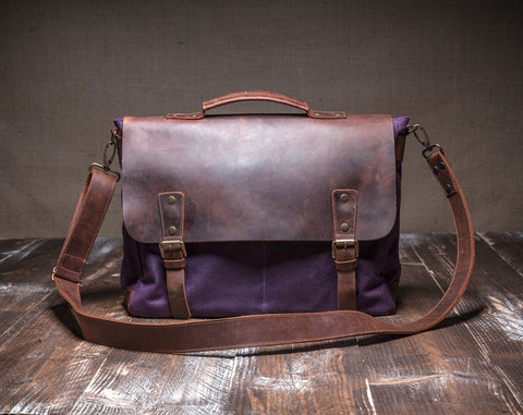 Laptop Messenger Bag Purple- Waxed Canvas Leather in Various Sizes