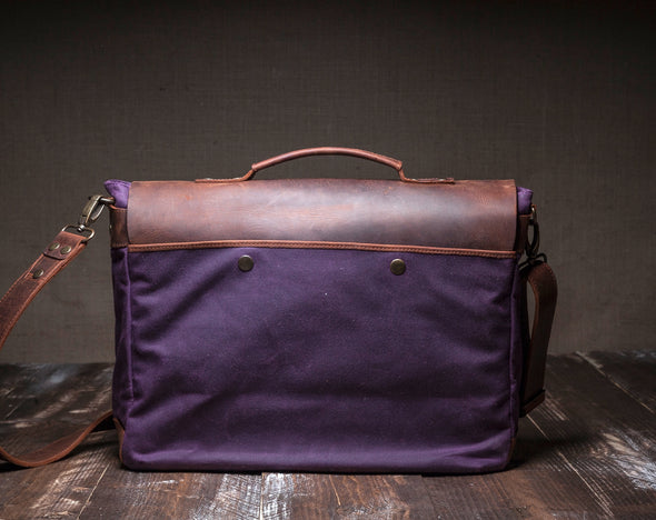 Waxed Canvas Leather Laptop Messenger Bag for Men and Women - Purple Canvas with Brown Leather by Tram 21 on Jetset Times SHOP