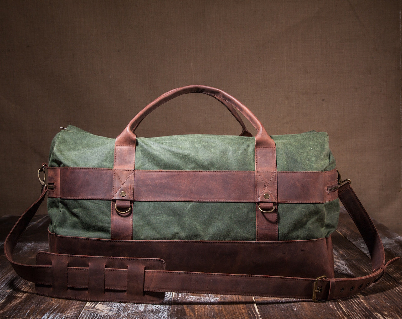 4accf0e936aa Waxed Canvas Leather Weekender Duffel Bag for Men and Women - Green Canvas  with Brown Leather