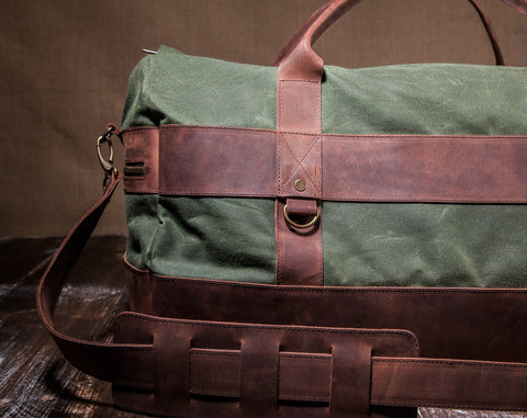 Men's Weekender Bag Green- Waxed Canvas Leather
