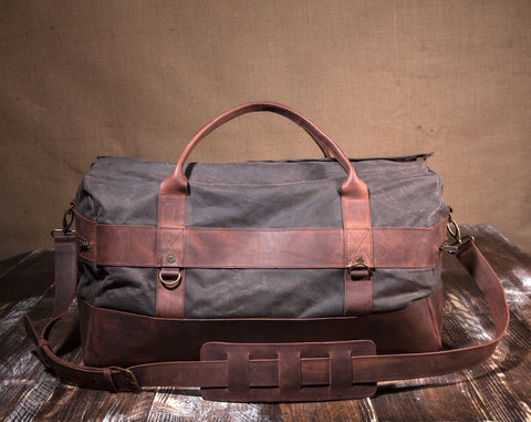 Men's Weekender Bag Dark Chocolate- Waxed Canvas Leather