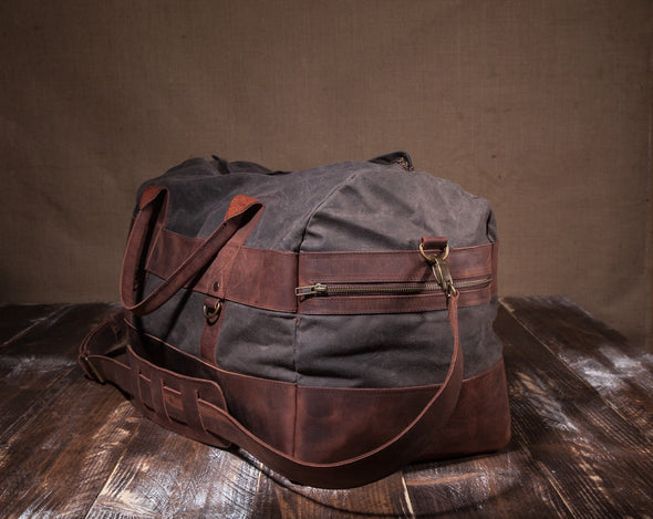 Waxed Canvas Leather Weekender Duffel Bag for Men and Women - Gray Canvas with Brown Leather by Tram 21 on Jetset Times SHOP