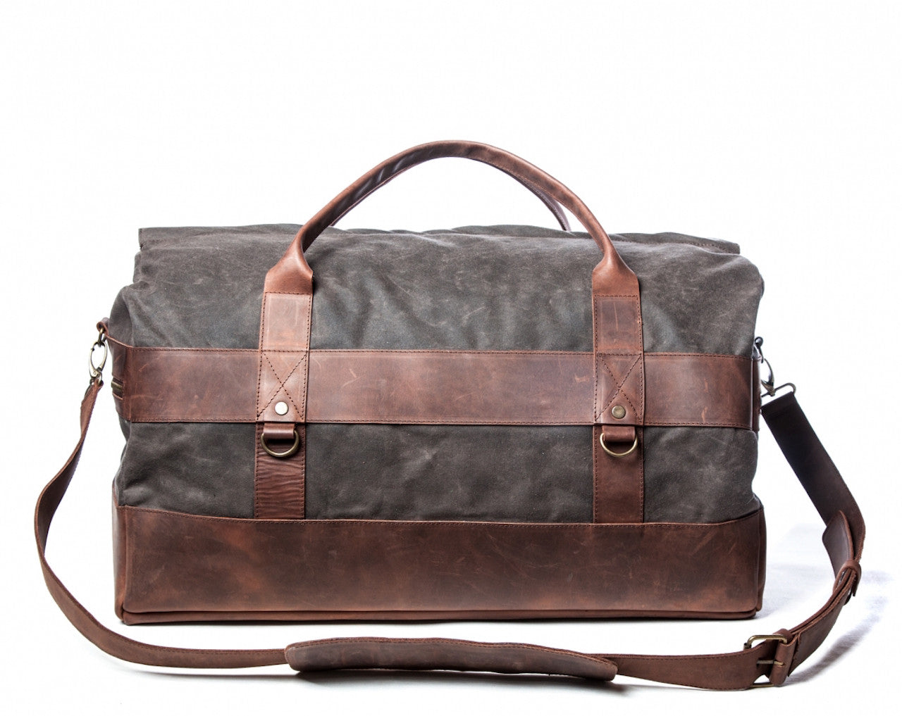 b7af707af63a Waxed Canvas Leather Weekender Duffel Bag for Men & Women - Gray w/ Brown