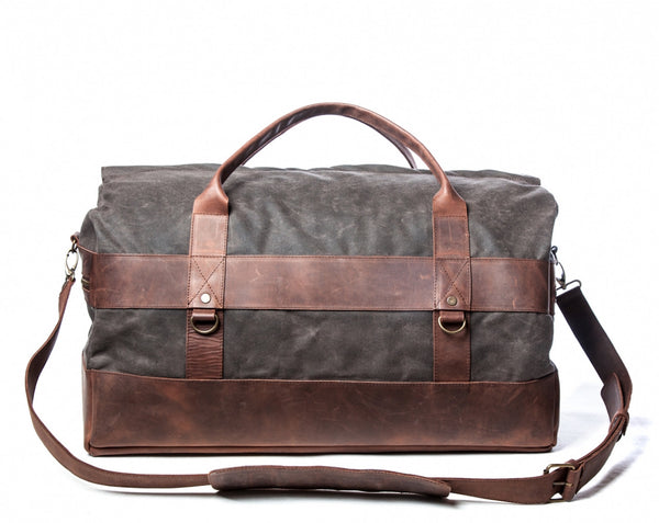 Waxed Canvas Leather Weekender Duffel Bag for Men & Women - Gray w/ Brown