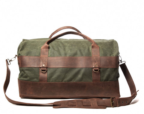Waxed Canvas Leather Weekender Duffel Bag for Men & Women - Green w/ Brown