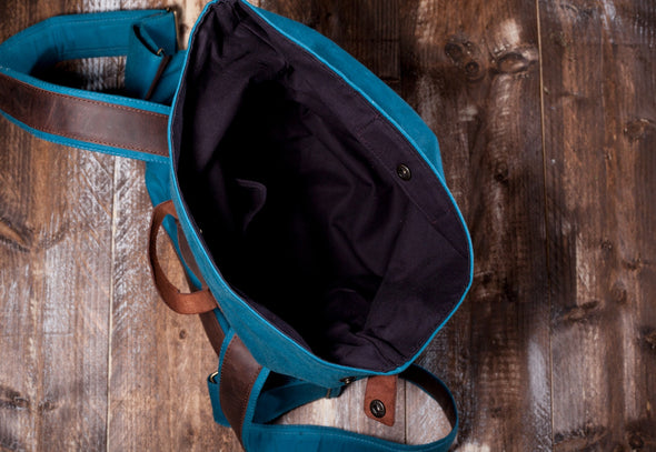 Waxed Canvas Leather Roll Top Backpack for Men & Women - Blue Canvas with Brown Leather by Tram 21 on Jetset Times SHOP