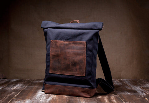 Roll Top Backpack Navy Blue- Waxed Canvas Leather