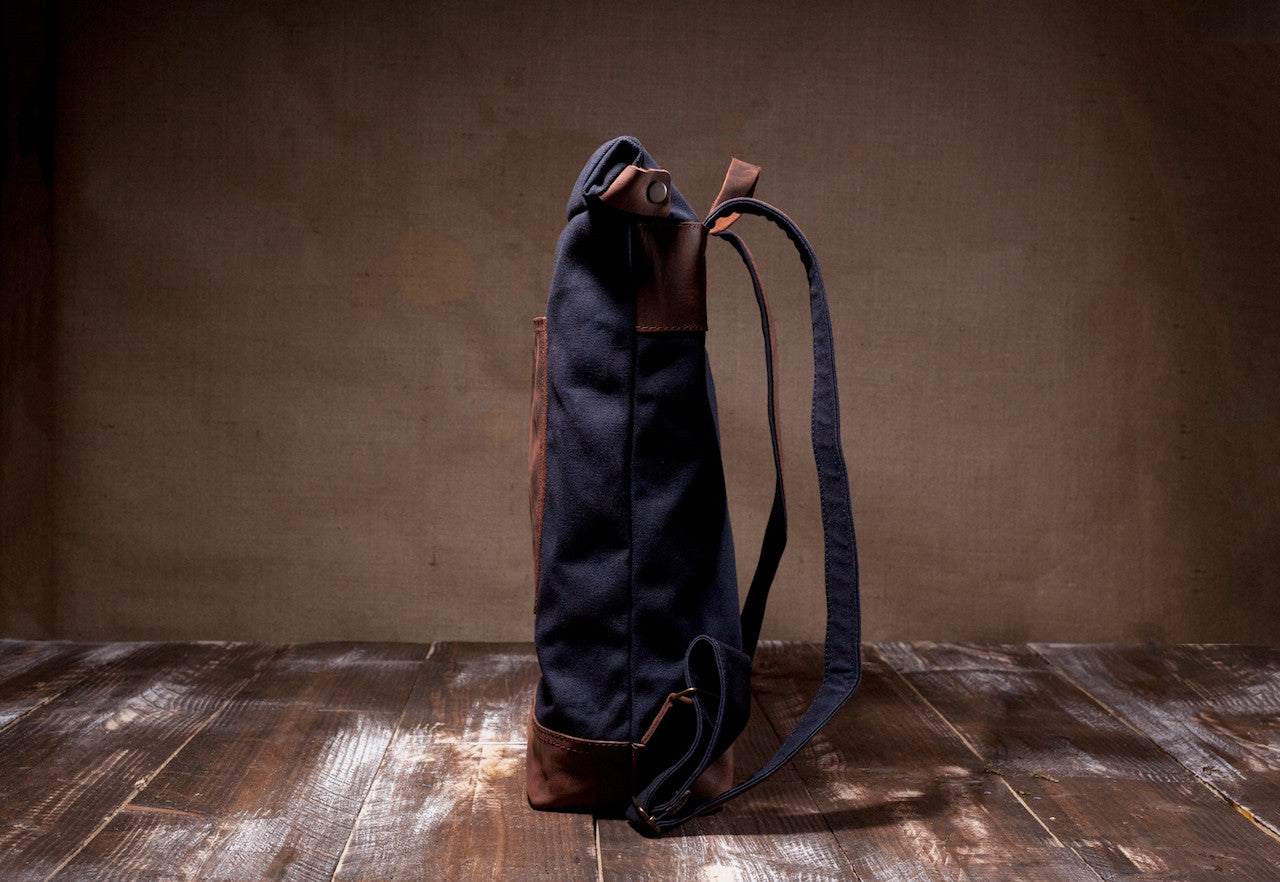 Waxed Canvas Leather Roll Top Backpack for Men & Women - Navy Canvas with Brown Leather by Tram 21 on Jetset Times SHOP
